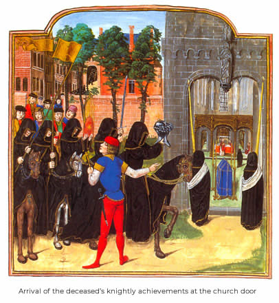 Arrival of the deceased's knightly achievements at the church door