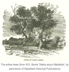 The willow trees (from W.S. Banks 'Walks about Wakefield', by permission of Wakefield Historical Publications)